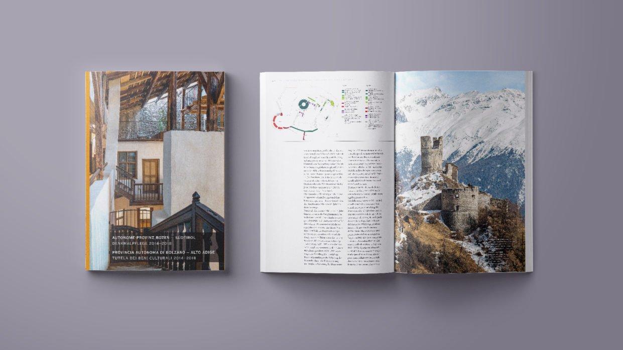 Cover und Doppelseite des Denkmalpflegeberichts 2014-2018