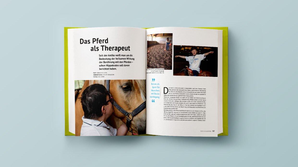 """Doppelseite aus """"Der Haflinger"""" zur Hippotherapie"""